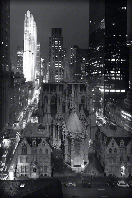 St Patricks Cathedral NYC photo night black & white 16x20&quot; architecture print