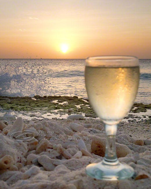Beach Photo Ocean Wine Sunset home decor print 8x10""
