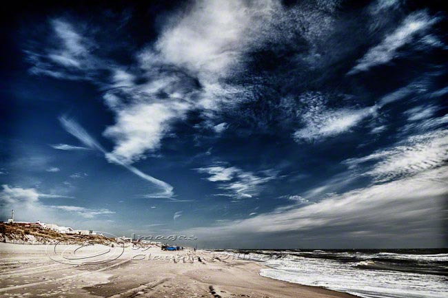 Beach Photo ocean clouds blue skies print waves 8x12""