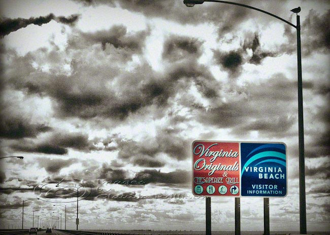"Virginia Beach photo Travel dramatic clouds vintage image 5x7"" print"