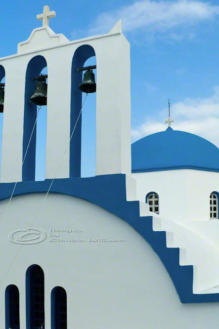 "Greek island photo orthodox church travel Greece blue 8x12"" print"