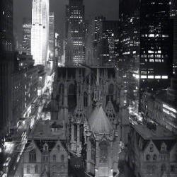"St Patricks Cathedral NYC photo night black & white 16x20"" architecture print"