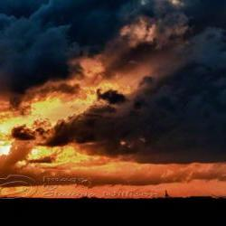 Sunset Photo cloud dramatic flames contrast print 8x12&amp;quot;