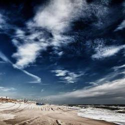 Beach Photo ocean clouds blue skies print waves 8x12&amp;quot;