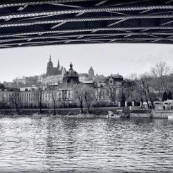 Prague photo Travel Photo black & white photo Charles bridge 8x12""