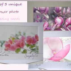 Greeting Card Set photo greeting card pink flower photo 5x7&amp;quot;